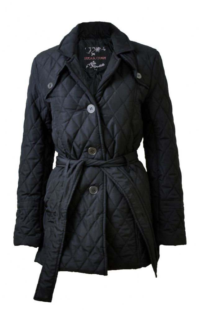 Ladies Black Diamond Quilted Belted Jacket